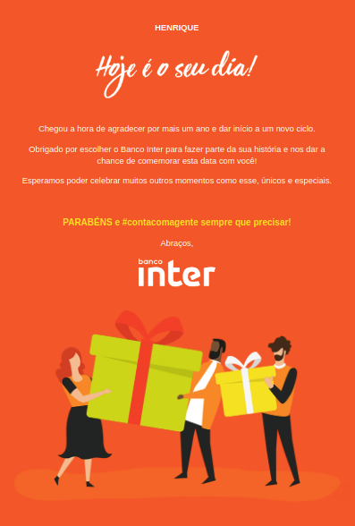 Aniversario de Marketing Inter-Email del Banco