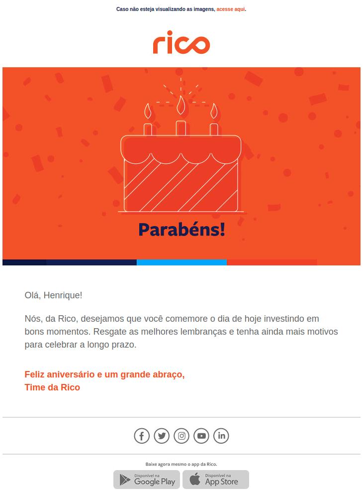 Rico Email Marketing Aniversário