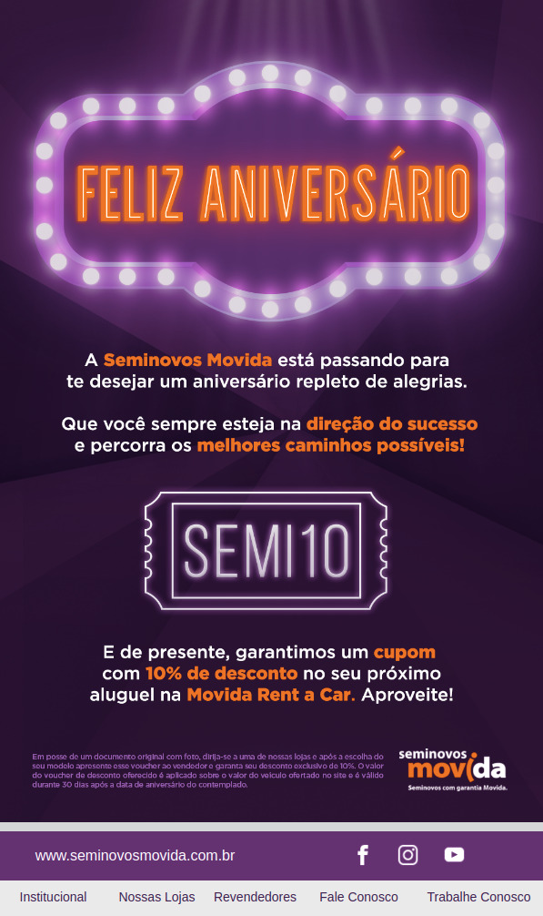 Se movieron Seminovos Email Marketing Aniversario