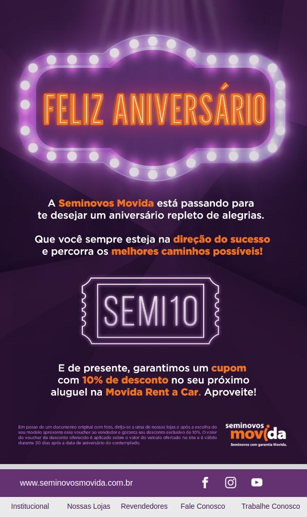 Movida Seminovos Email Marketing Aniversário