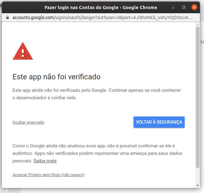 Google Apps Scripts Autorização - 2