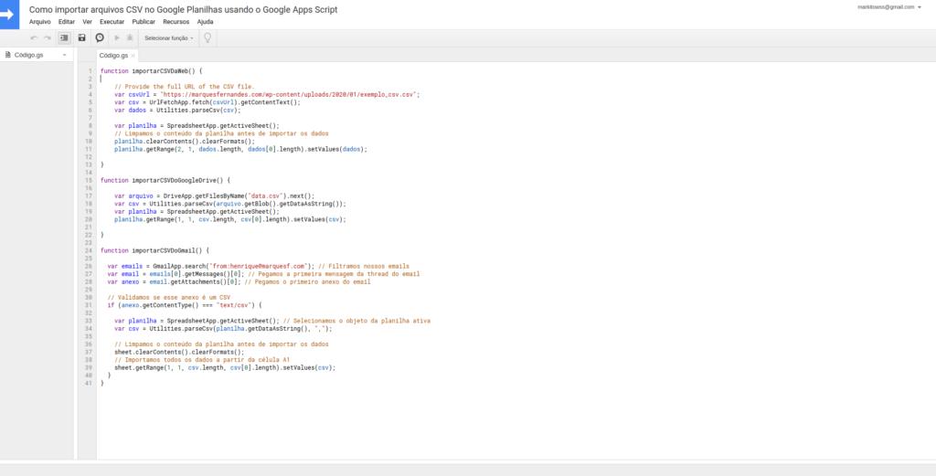 Editor de texto do Google Apps Script