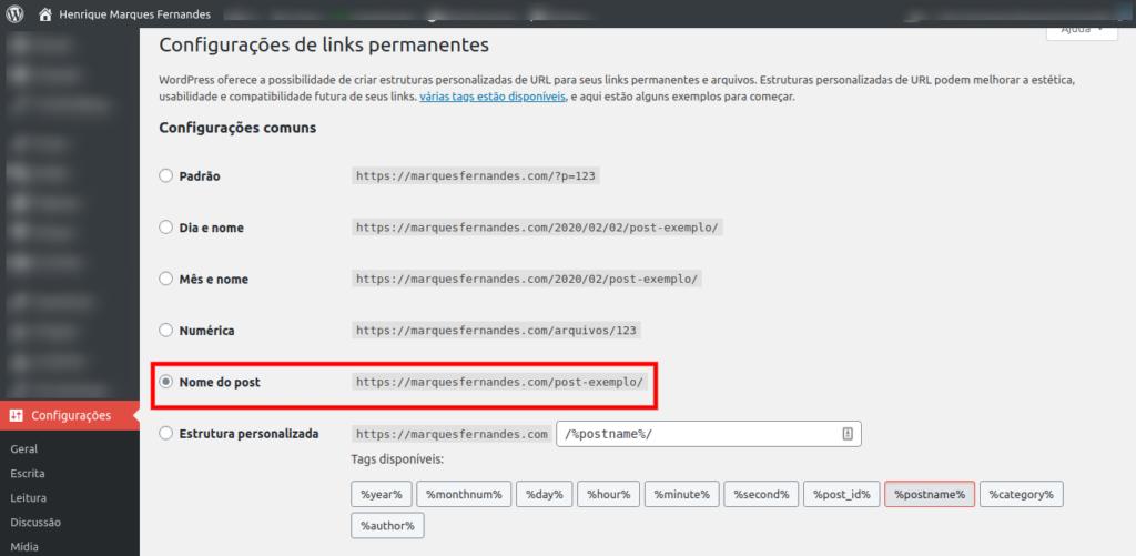 Configurando os links permanentes no WordPress