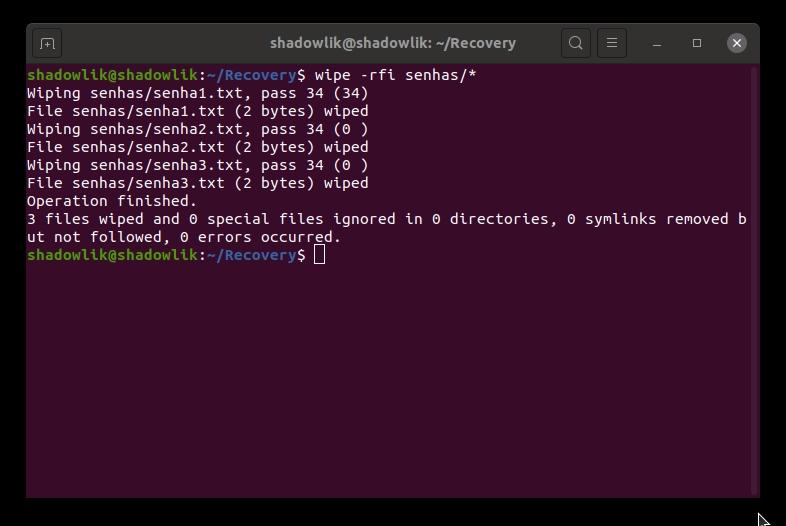 Wipe - Delete seguramente arquivos no Linux