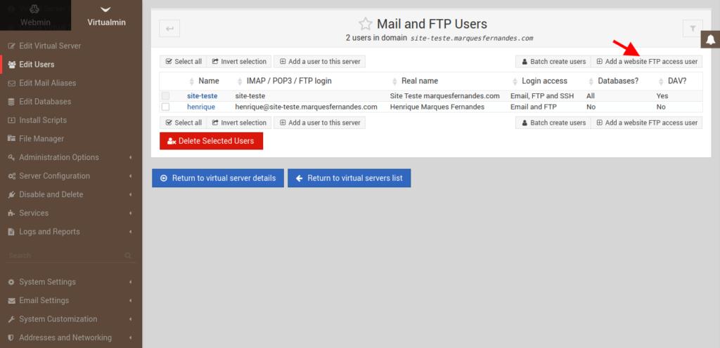 Creación de un usuario FTP