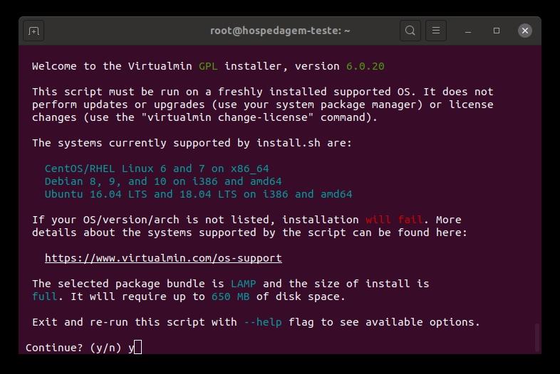 Instalación de Virtualmin - P2