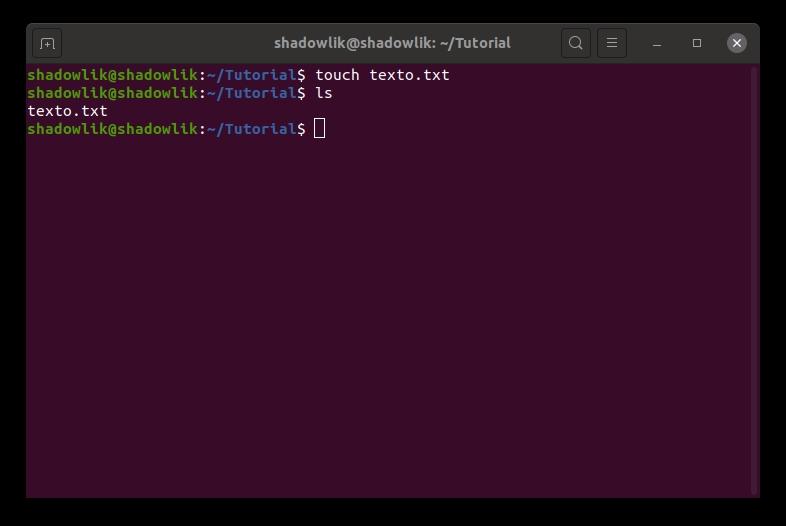 Creación de un archivo con el comando Táctil