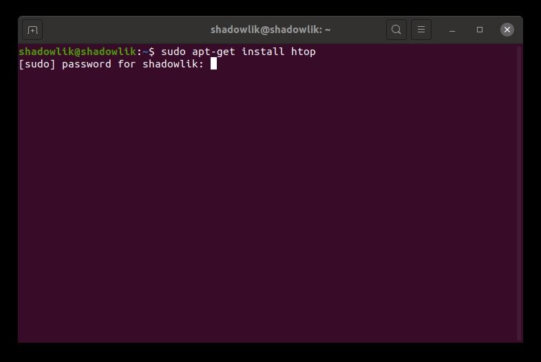 Instalación de la aplicación htop