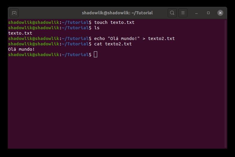 Criando um arquivo com o comando echo