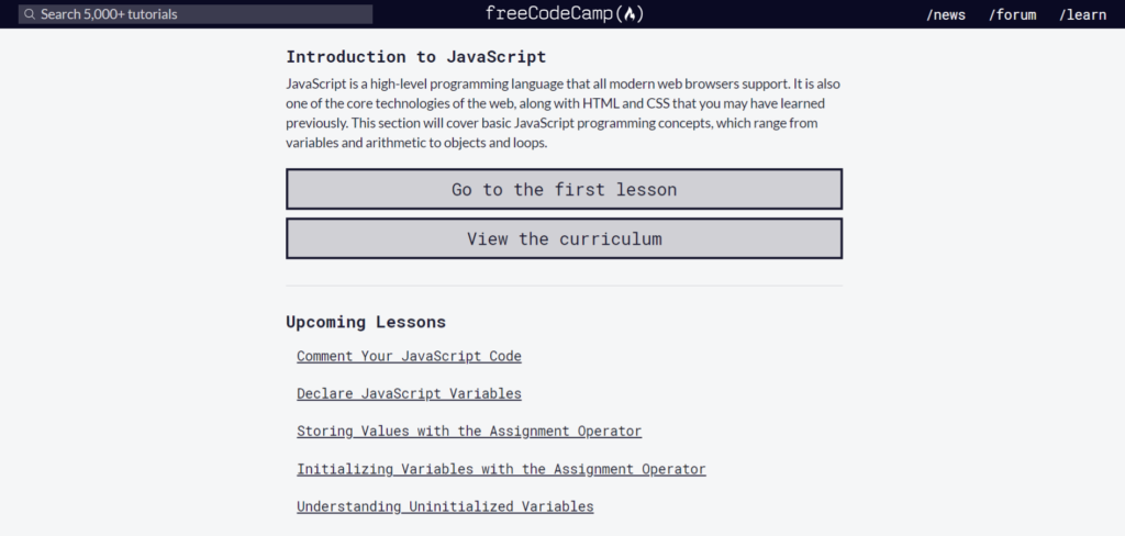 freeCodeCamp - Curso Gratuito de Javascript