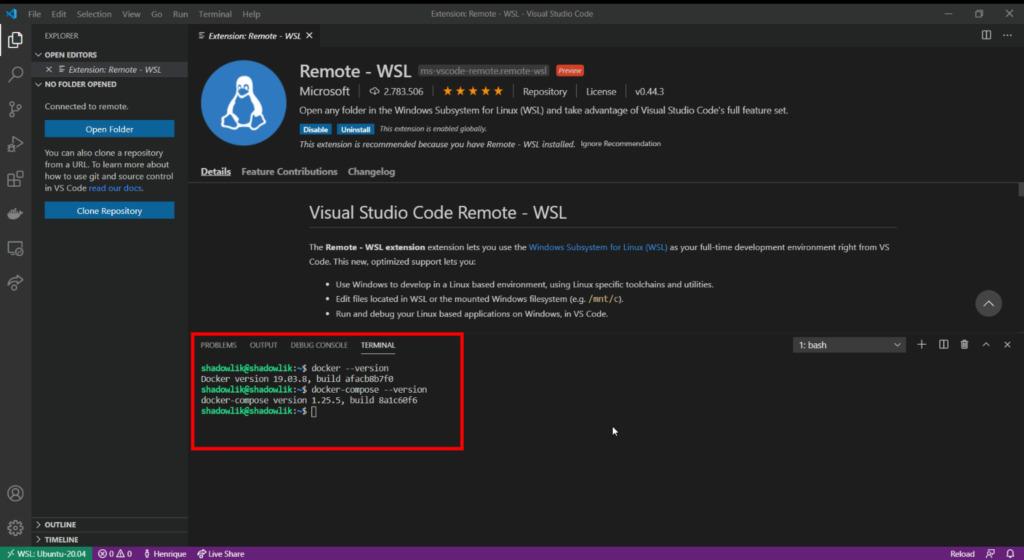 VS Code, Docker e WSL 2