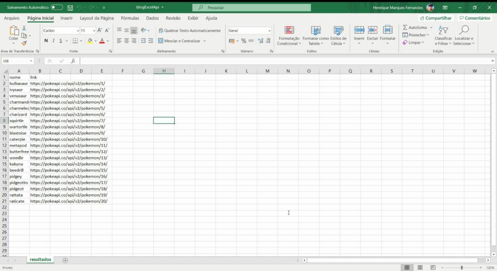 Resto de la API de Excel