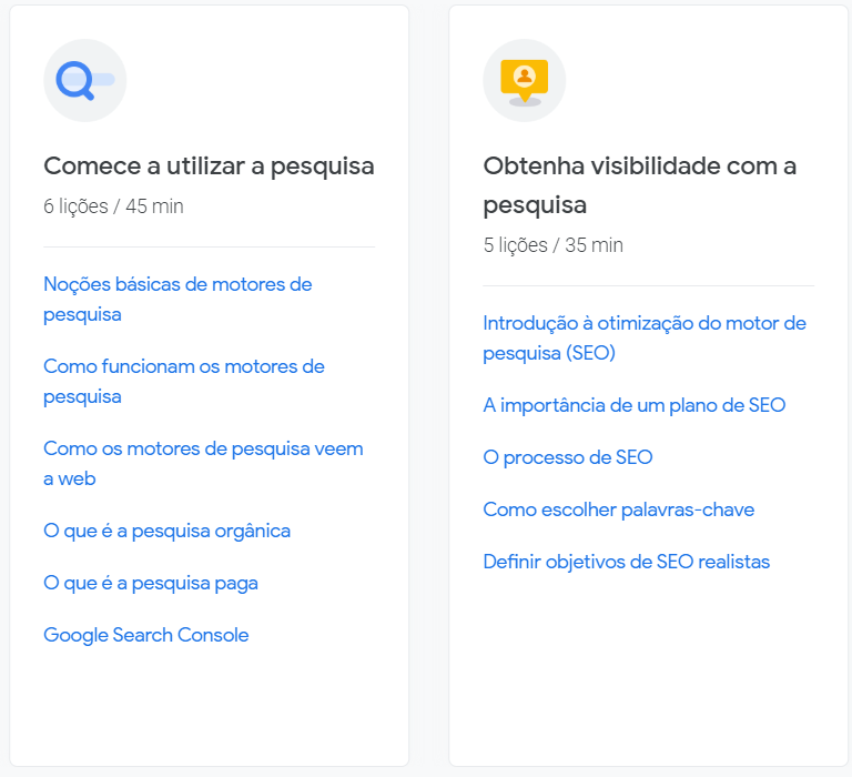 Módulos dedicados a parte de SEO e visibilidade na internet