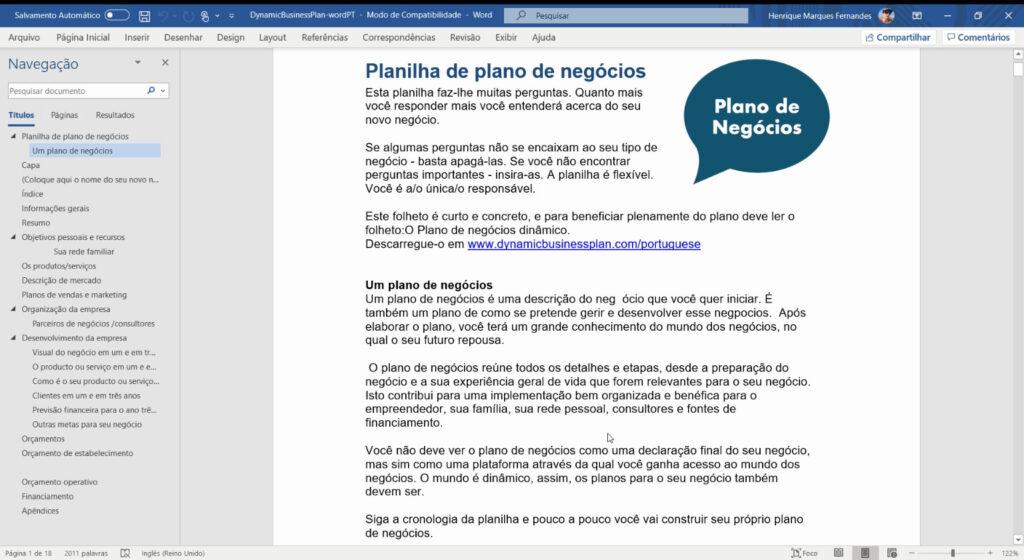 Dynamic Business Plan - Modelo Plano de Negócios (Word)
