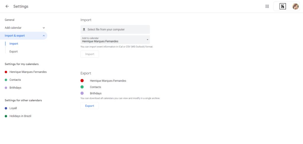 Importar el archivo de cumpleaños a Google Calendar